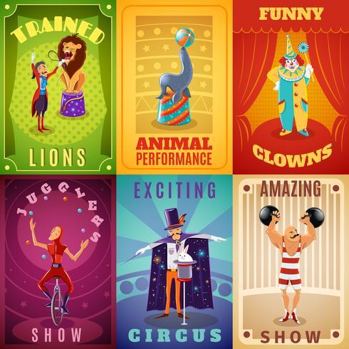 Zirkus 6 flache Banner Zusammensetzung Poster vektor