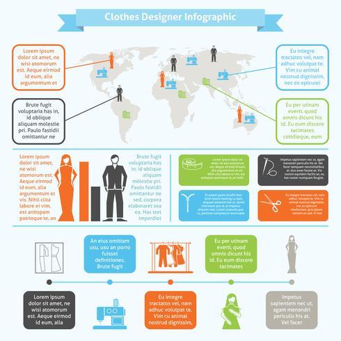 Kläddesigner infographic set vektor