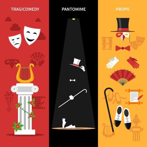 Teaterföreställning Banners Set vektor