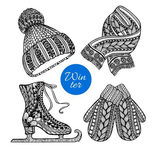 Dekorativa skridskor vantar halsduk doodle ikoner vektor