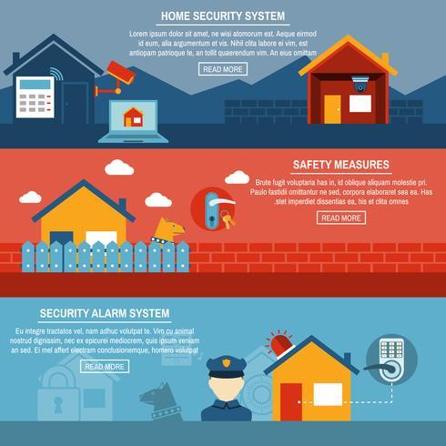 Interaktive flache Banner der Sicherheit zu Hause eingestellt vektor