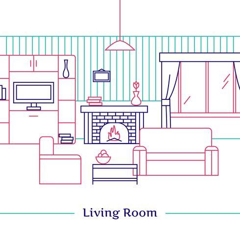Wohnzimmer-Line-Design vektor