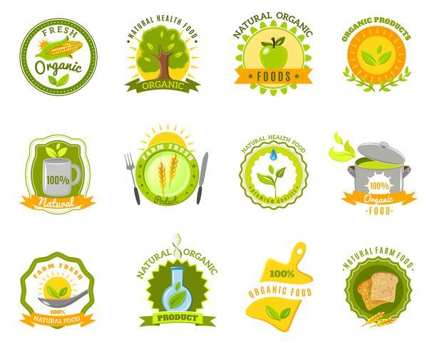 Organiska livsmedelsmärken etiketter mallar ställs platt vektor