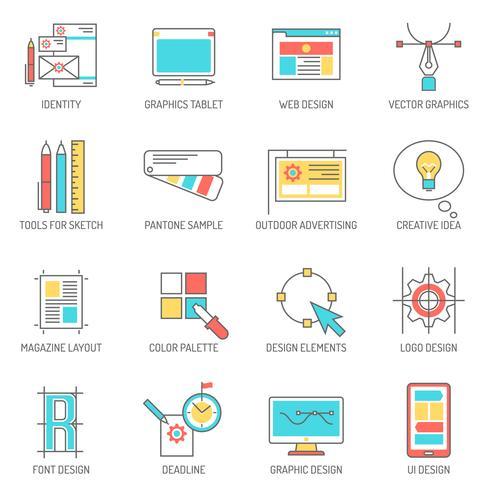 designer ikoner linje uppsättning vektor