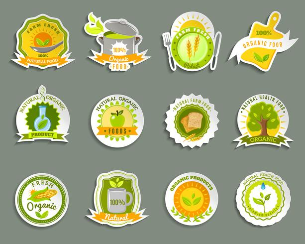 Naturliga ekologiska livsmedelsmärken klistermärken uppsättning vektor