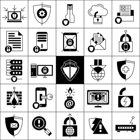 Inställningar för dataskyddssymboler vektor