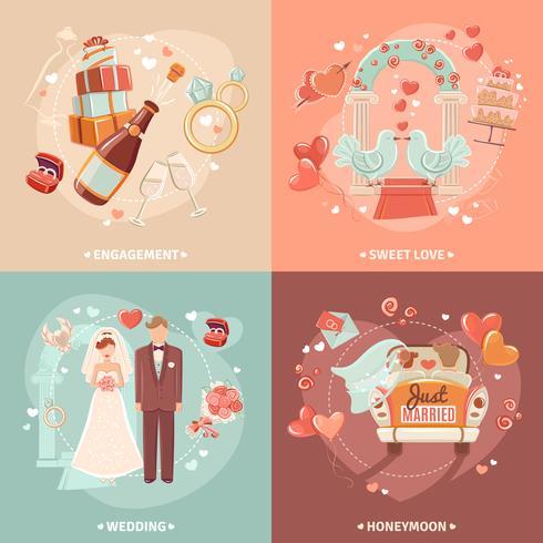 Bröllopskoncept 4 platta ikoner torg vektor