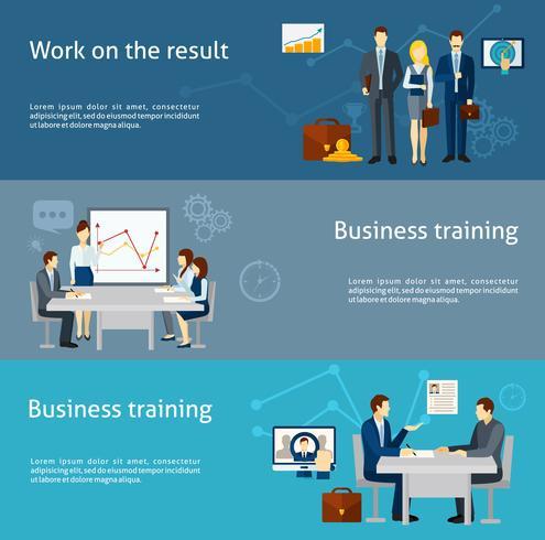 Business coaching investering platt banners set vektor