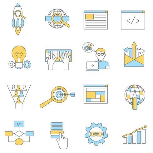 Webb ikoner linje vektor