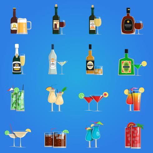 Cocktail ikoner platt uppsättning vektor