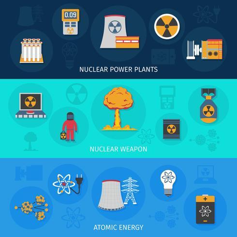 Kernenergie flache Banner gesetzt vektor