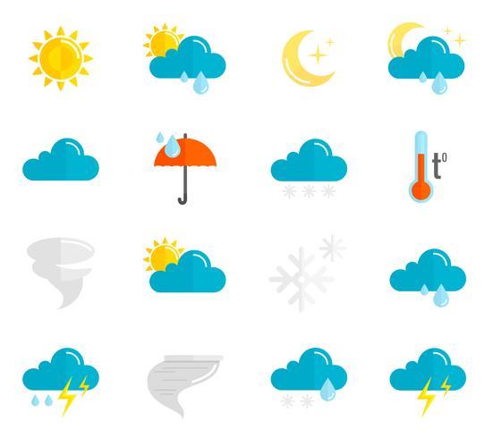 Wetter Icons Flat Set vektor