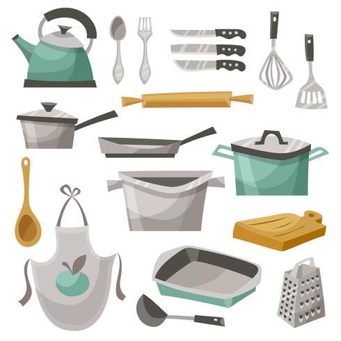 Küchenmaterial Icons Set vektor