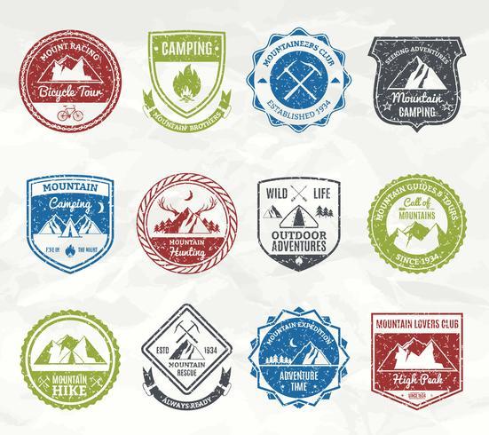 Mountain Adventure Briefmarken vektor