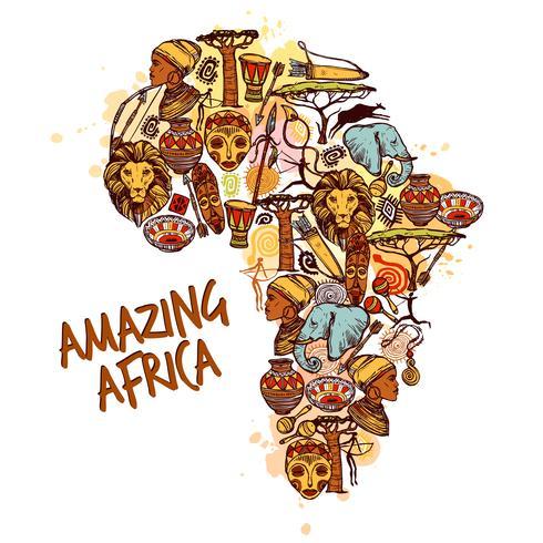 Afrika Sketch Concept vektor