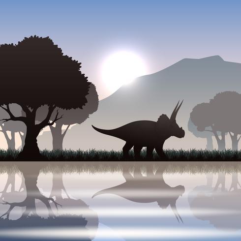 Silhuett dinosaur i landskapet vektor