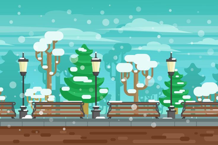 Wintergarten-Landschaftsplakat vektor