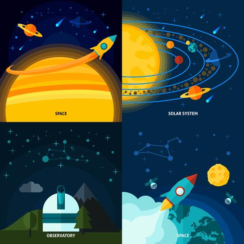 Space and Universe Flat Set vektor