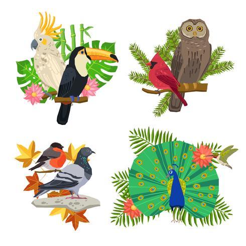 Fåglar och blommor vektor
