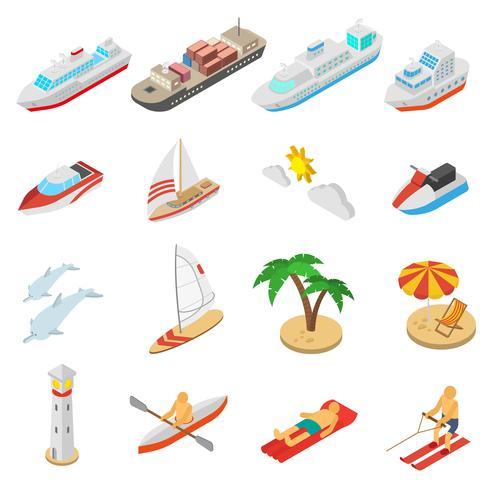 Skepp och strand semester ikoner uppsättning vektor