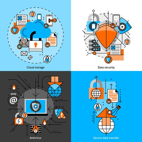 Datasäkerhet och lagringsikoner vektor