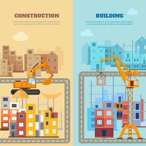 Byggnads- och byggnadsbannersats vektor