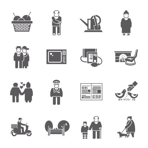 pensionärer levande ikoner uppsättning vektor