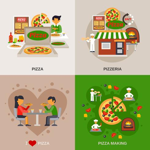 Pizzeria Konzept Icons Set vektor