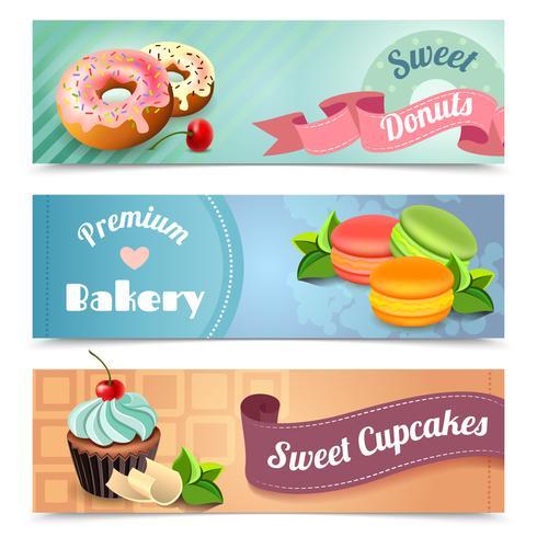 Bäckerei-Banner eingestellt vektor