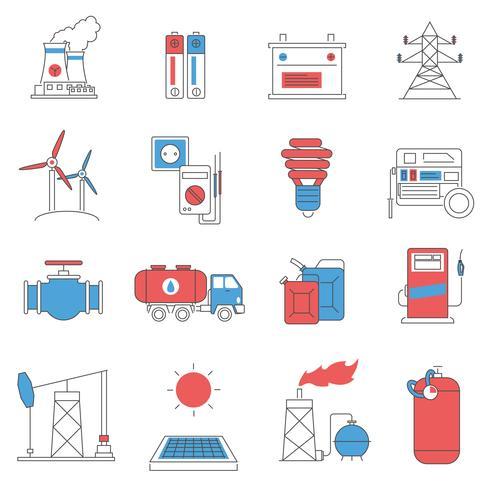 Energieleitung Icons Set vektor