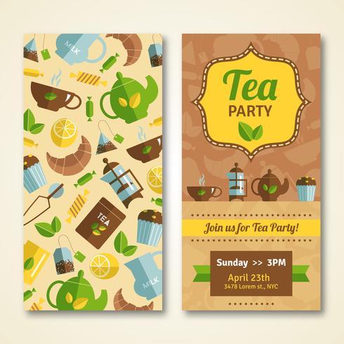 Tea party meddelande 2 vertikala banderoller vektor