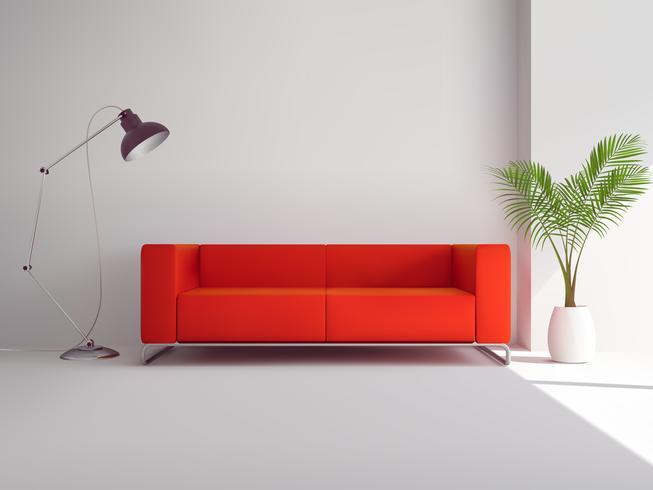 Rotes Sofa mit Lampe und Palme vektor