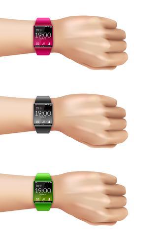 Smart Watch On Hand Dekorativ ikonuppsättning vektor