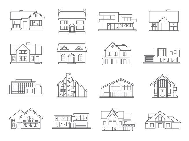 Hus ikoner platt uppsättning vektor
