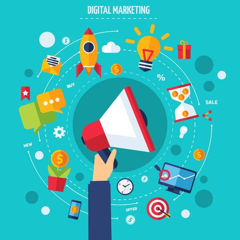 Digitales Marketingkonzept vektor