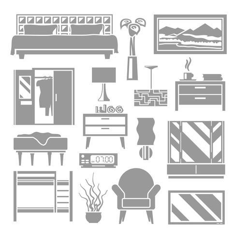Schlafzimmermöbel Grey Set vektor
