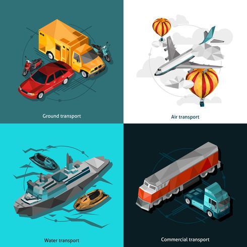 Transport Låg polygonala ikoner Set vektor