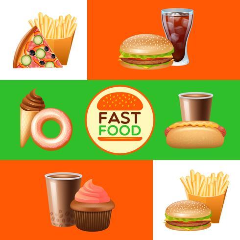 Fast Food Restaurant Menü Banner gesetzt vektor
