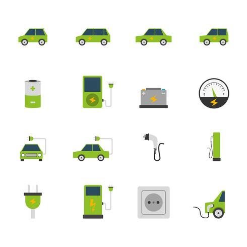 Elektrisk bil ikonuppsättning vektor