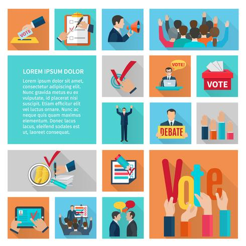 Wahlen flache Icons Set vektor