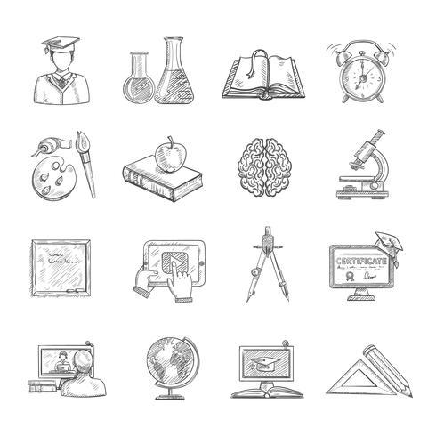 Bildung Icons Sketch Set vektor