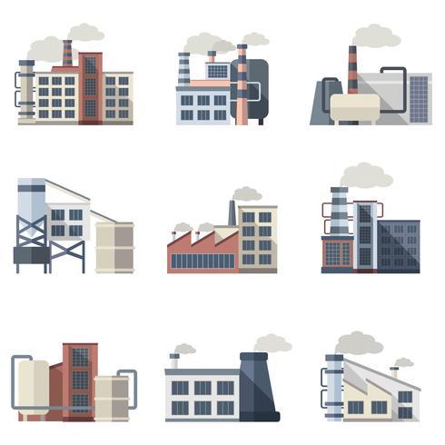 Industriegebäude eingestellt vektor