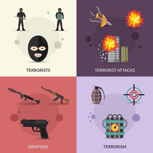 Terrorismus-Flachsatz vektor