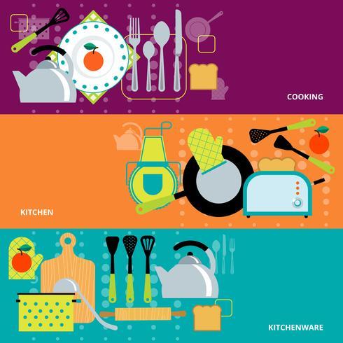 Matlagningskoncept 3 bannersuppsättning vektor