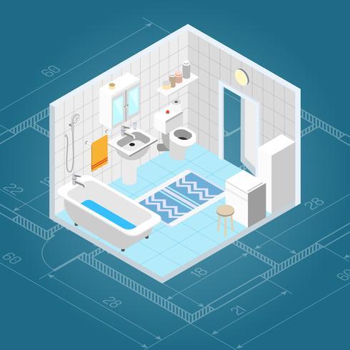 Badezimmer innen isometrisch vektor