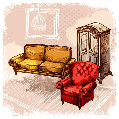 Möbel-Skizze-Illustration vektor