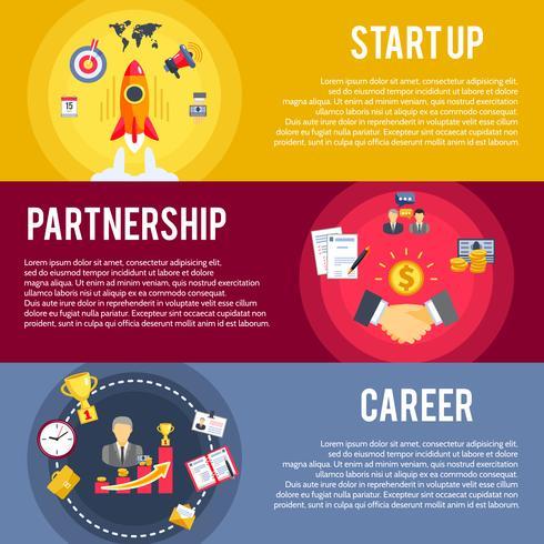 Business startup koncept platt bannersats vektor