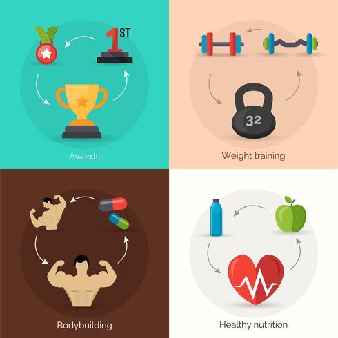 bodybuilding platt uppsättning vektor