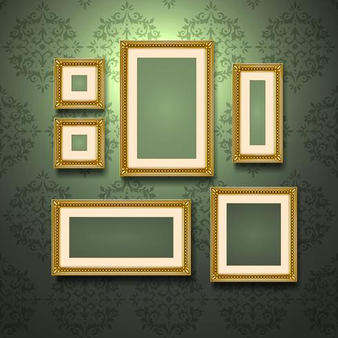 Gyllene ramar på väggen vektor