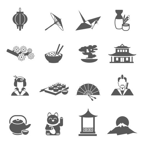 Japans silhuett platt ikonuppsättning vektor